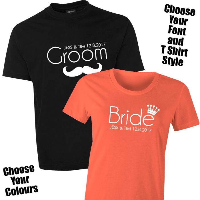 c495dc3914 Personalised Bride & Groom T Shirt Set The Personalised Bride & Groom T  Shirt Set is the latest trend in must have pre-wedding or honeymoon w…
