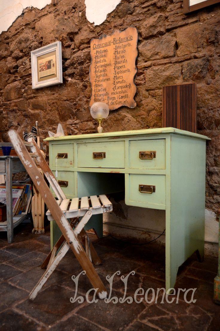 Escritorio de madera maciza en color verde pistacia y - Escritorios madera maciza ...