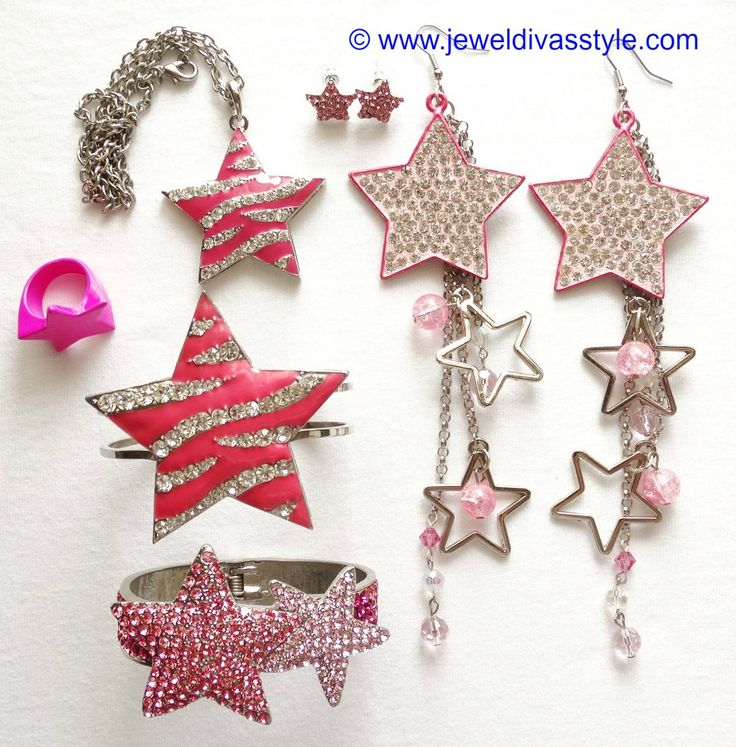 JDS - PINK CRYSTAL STAR JEWELLERY SET (JEWEL DIVAS earrings)