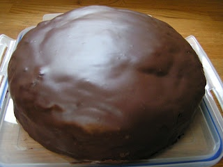 Recipe Junkie and the attack of the custard creams: Fairtrade chocolate cake with honey glaze icing*
