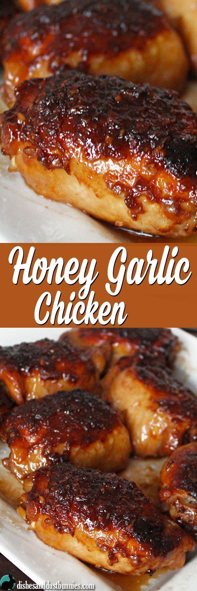 Honey Garlic Chicken (plus some really tasty sauce!) from dishesanddustbunnies.com (Chicken Thighs)