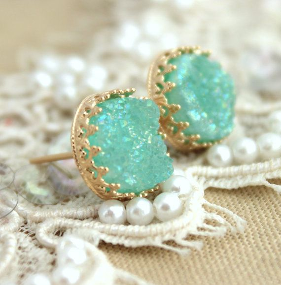 Mint Druzy studs earrings Green seafoam  14k Gold by iloniti, $59.00