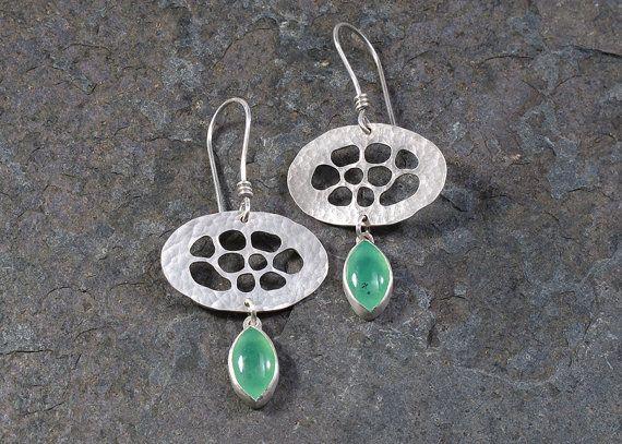 Sterling Silver and Chrysoprase Bubble Earrings by Leslie Zemenek for Z Leslie Jewelry