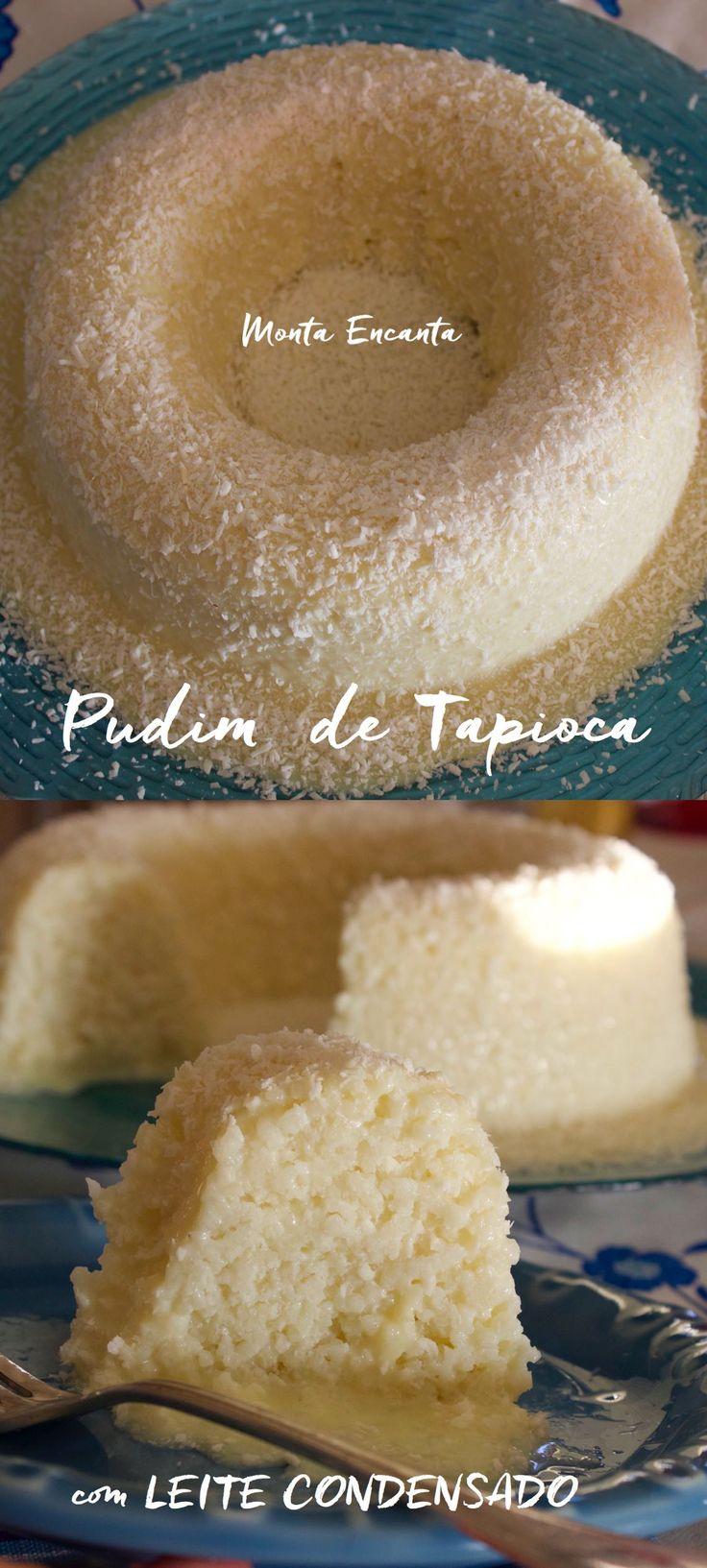 Pudim de Tapioca, se você gosta de tapioca com condensado vai amar esta versão grandona em formato de pudim, com calda de leite condensado e coco ralado.