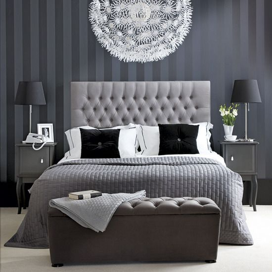 monochrome grey looks so clean! love the striped wall