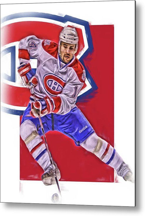 Tomas Plekanec Metal Print featuring the mixed media Tomas Plekanec Montreal Canadiens Oil Art by Joe Hamilton
