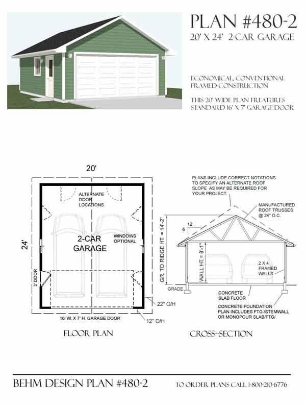 Two Car Garage Plan 480 2 20 X 24 By Behm Design 2 Car