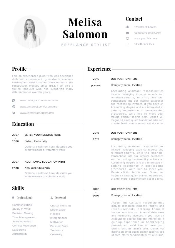 modern resume template  professional cv  eye catching