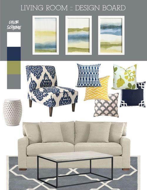 This is what my living room is going to be like, except with a red couch instead, and no green! navy, gray, cream, white, and yellow for dining room