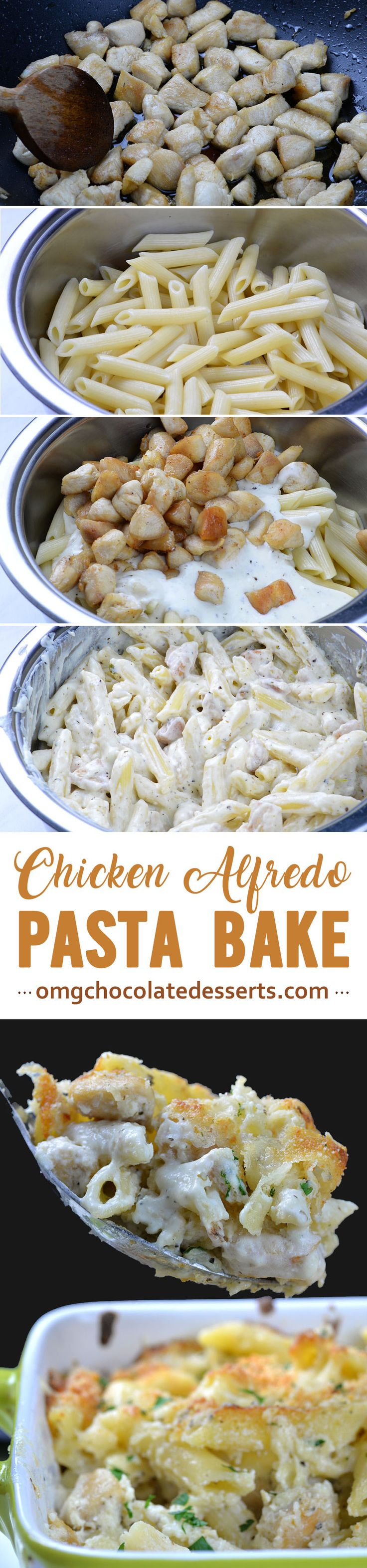 Chicken Alfredo Bake is EASY WEEKNIGHT DINNER CASSEROLE version of family favorite Chicken Alfredo. Cheesy, white sauce chicken Parmesan pasta is delicious, warm comfort food for cold winter nights!