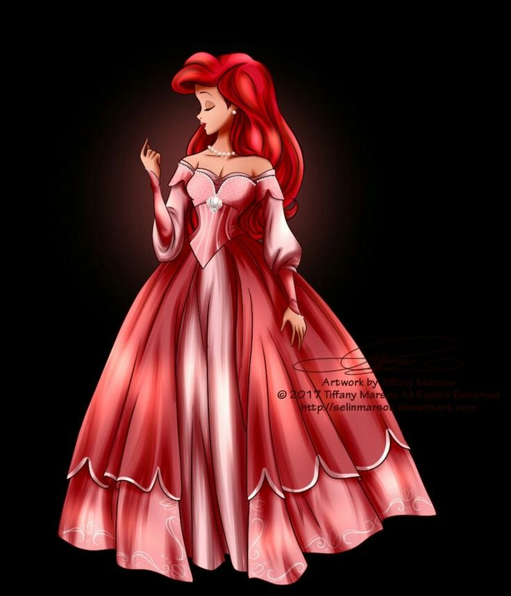 Ariel in her new and beautiful pink ballgown dress