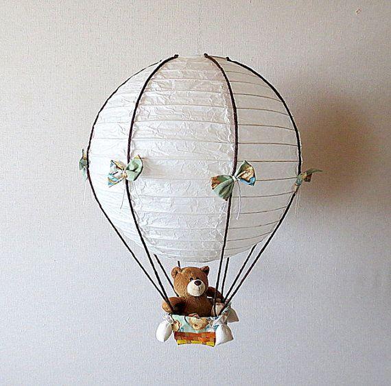 Child Nursery Lamp Teddy Bear Hot Air Balloon by VeganBabyToys