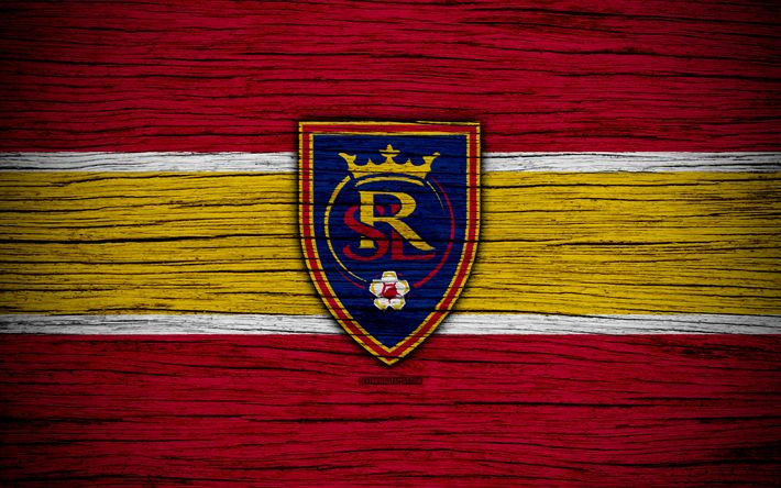 Download wallpapers Real Salt Lake, 4k, MLS, wooden texture, Western Conference, football club, USA, Real Salt Lake FC, soccer, logo, FC Real Salt Lake