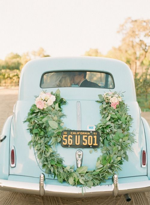something blue. A classic car makes for great wedding photos.