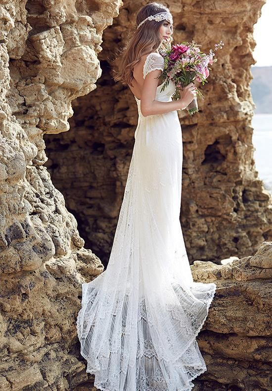 Popular  Anna Campbell Beach Wedding Dresses With V Neck Open Back Capped Sleeve Full Lace A Cheap Wedding Dresses OnlineCorset