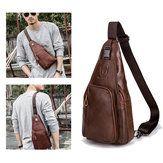 BULLCAPTAIN Men Leather Chest Bag Vintage Travel Fashion Crossbody Shoulder Bag