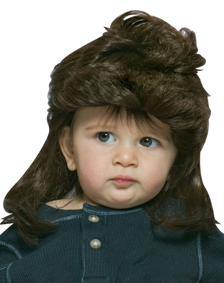 Brown Mullet Baby WigKids Stuff, Brown Mullets, Halloween Costumes, Gift Ideas, Mullets Wiggi, Wiggi Baby, Greeting Cards, Baby Halloween, Baby Wigs