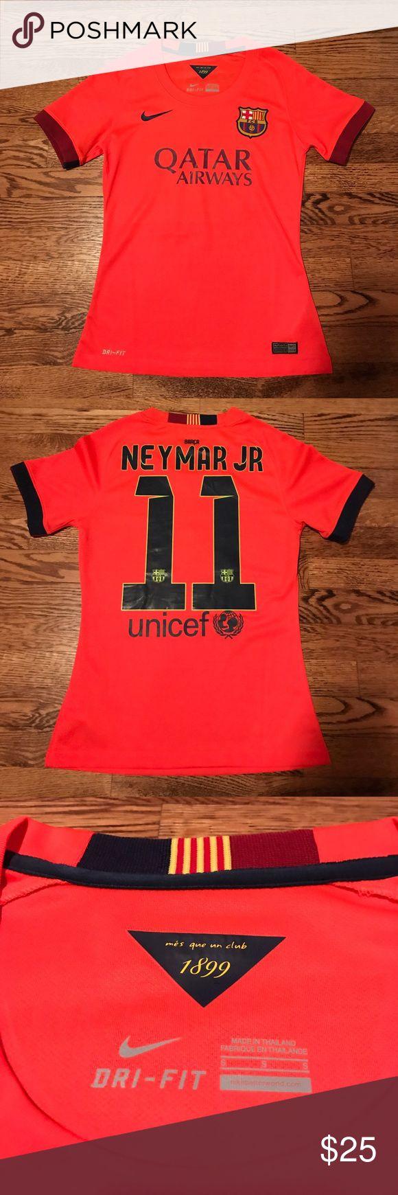 Never worn! Women's FC Barcelona shirt Nike dry fit FC Barcelona t-shirt- Women's. Neymar Jr decal and #11 Nike Tops Tees - Short Sleeve
