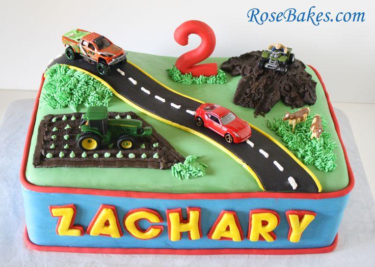 Transportation Birthday Cake {Car, Truck, Tractor,