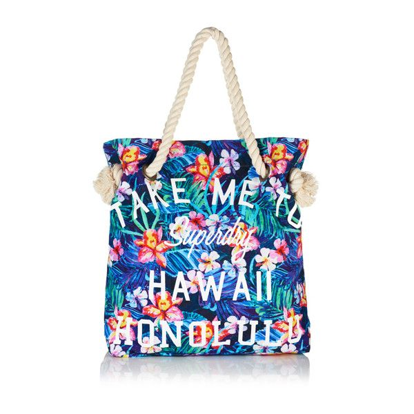 Superdry Summer Rope Tote Bag (526.415 IDR) ❤ liked on Polyvore featuring bags, handbags, tote bags, blue, beach tote, hawaiian tote bag, summer tote bags, summer purses and zip tote bag