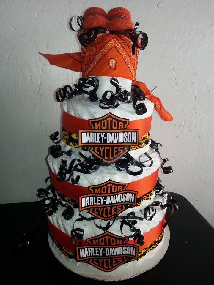 Harley Davidson Diaper Cake 1 Bike Baby Shower Harley
