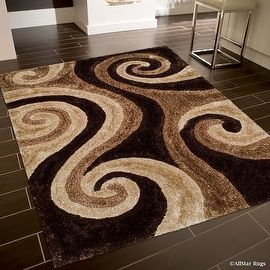 shop for allstar rugs coco shaggy area rug with 3d brown spiral design formal casual hand tufted 5u0027 x 7u0027 get free shipping at