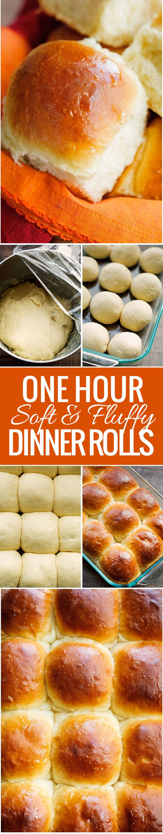 Soft and Fluffy One Hour Dinner Rolls Recipe - made with potato flakes and ready in one hour! So tender and delicious! #onehourrolls #dinnerrolls #onehourdinnerrolls | littlespicejar.com @littlespicejar