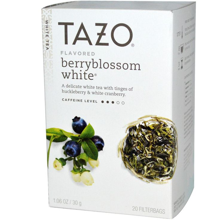 Tazo Teas, Flavored Berryblossom White, Caffeinated, White Tea, 20 Filterbags, 1.06 oz (30 g)