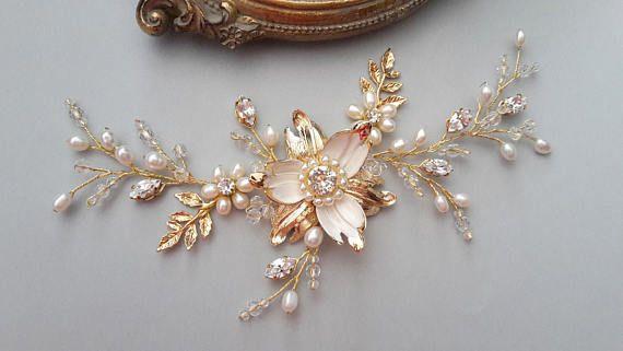 Gold comb Gold hair vine Bridal Headpiece Wedding Hair Vine
