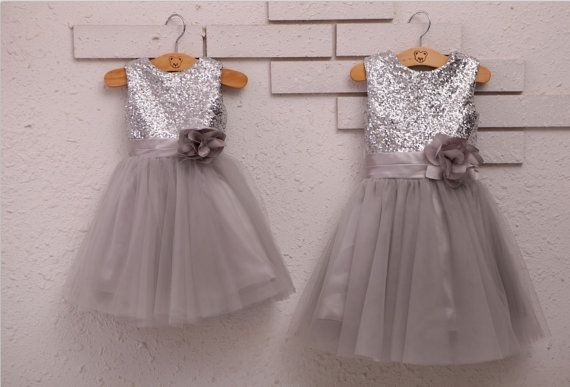 Silver Sequins Light Gray Tulle Flower Girl Dress Baby by deepado
