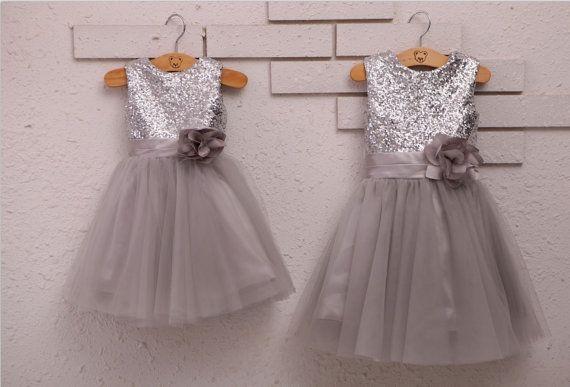Silver Sequins Light Gray Tulle Flower Girl Dress Baby Girl Dress with Flower Sash for wedding on Etsy, $49.35 AUD