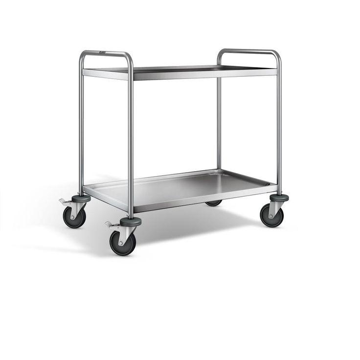GTARDO.DE:  Edelstahl Servierwagen 2 Borde 900x550 mm, Maße LxBxH 1000x650x950 mm, Tragkraft 120 kg 317,00 €