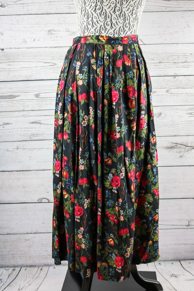 Susan Bristol Winter Flowers and Grapes Pleated Maxi Skirt- Size 8- 20% Wool by JenuineCollection on Etsy