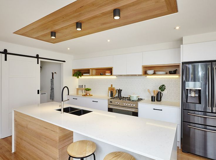 The Combination Of Crisp Whites And Timber Accents Bring Warmth To A Kitchen  #bunnings