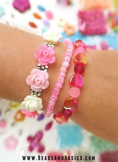 Pink Bracelet Set with roses - Heart beads -   DIY + Materials to make your own at www.beadsandbasics.com