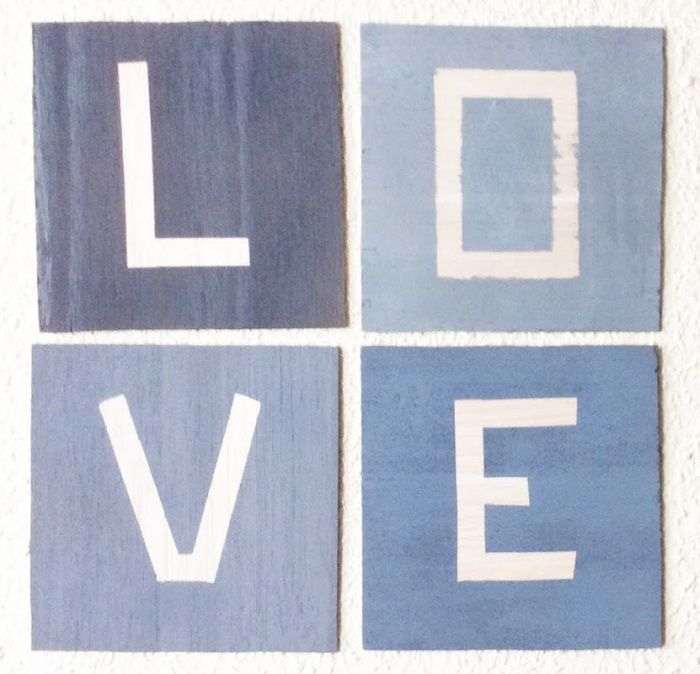 Balsa wood LOVE picture using Pinty Plus Basic, Evolution and Chalk paint to create different textures.