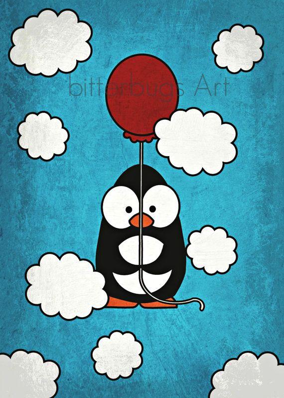 I Can Fly - Penguin! - 8x10 Print, wall art