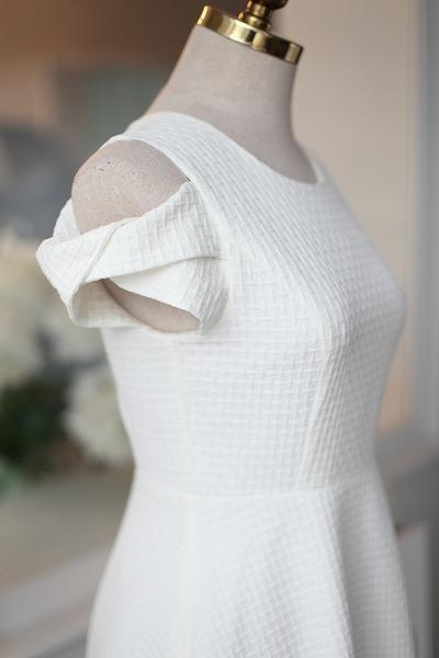 Korean fashion round neck strapless flounced short-sleeved dress - AddOneClothing - 7