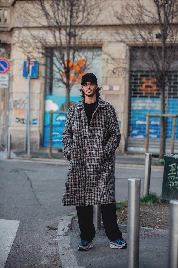 Mens Street Fashion Check Coat