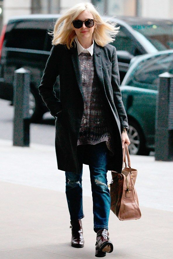 celebrity street style 2014 | Mannish tailoring, Karen Walker eyewear sunglasses and oversized knits ...