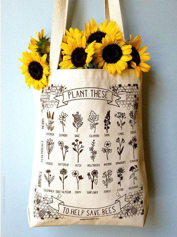 Plant These to Help Save Bees eco-friendly tote bag // made in Bedford, NH & screen printed in Portland, ME