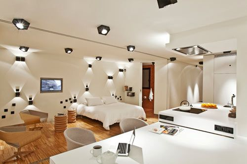 Unique Artistic Lighting Concept in a Barcelona Apartment by DestinationBCN: Bcn Apartment, Llui Corbella, Open Spaces, Apartment Design, Spots Lights, Interiors Design, Destinationbcn Spaces, Destinations Bcn, Urgel Apartment