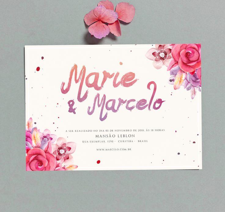 Convite de Casamento Watercolor Flowers 2 – Papel e Letra Convites de Casamento