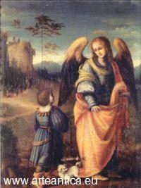 FRANCESCO D'UBERTINO VERDI UBERTINI detto BACHIACCA (1484C.-1557-(1494-1557)), Tobiolo e l'Arcangelo Raffaele,Museo: Cenacolo di San Salvi-Firenze