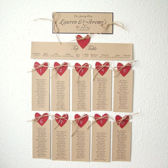 Seating plan (NAME of places) with heart and natural jute set of 10 and the…