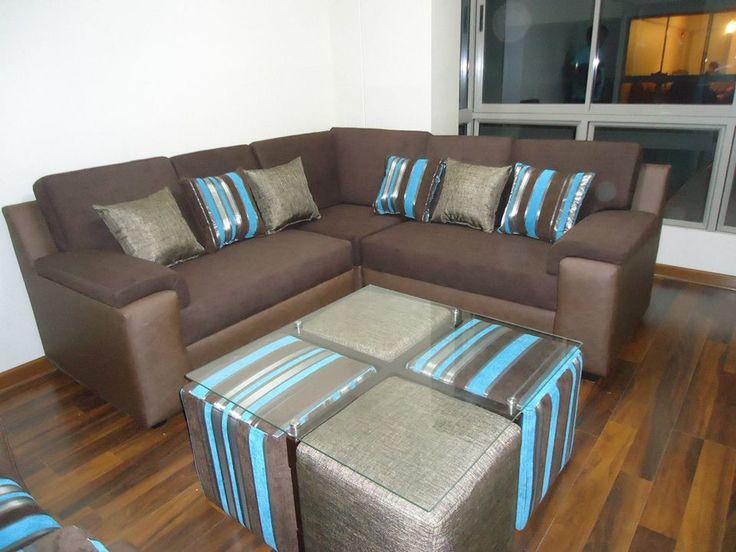 Juego de sala con esquinero en tela velmex color chocolate for Tela sofa exterior