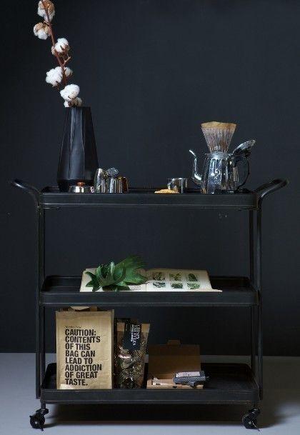 Tea trolley metaal zwart - BePureHome