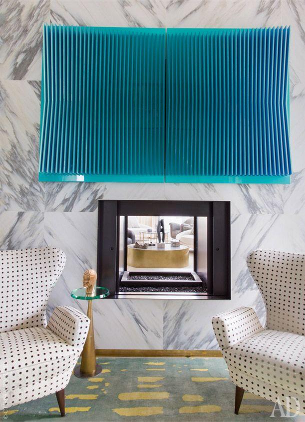c. 1950s Italian chairs upholstered in a grid like pattern  // Kelly Wearstler
