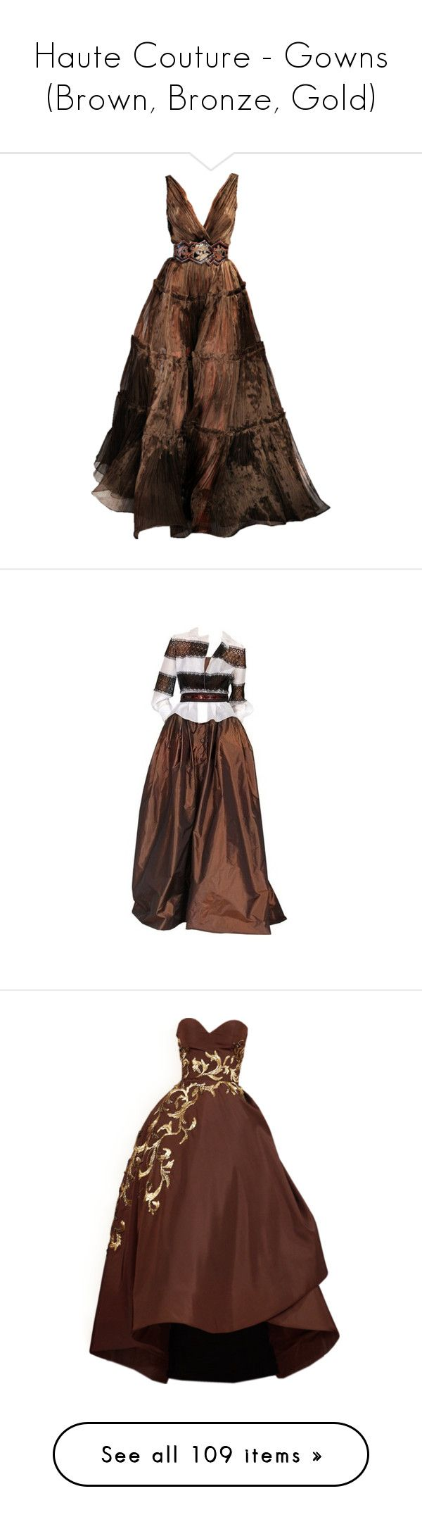 """Haute Couture - Gowns (Brown, Bronze, Gold)"" by giovanna1995 ❤ liked on Polyvore featuring dresses, gowns, long dresses, vestidos, brown gown, brown evening gowns, oscar de la renta evening gowns, brown dresses, brown evening dress and long dress"