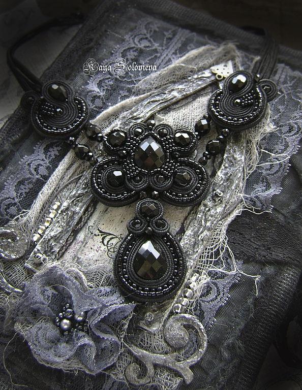 Soutache bead embroidery | Kaya Solovieva | Black necklace | gorgeous shot!